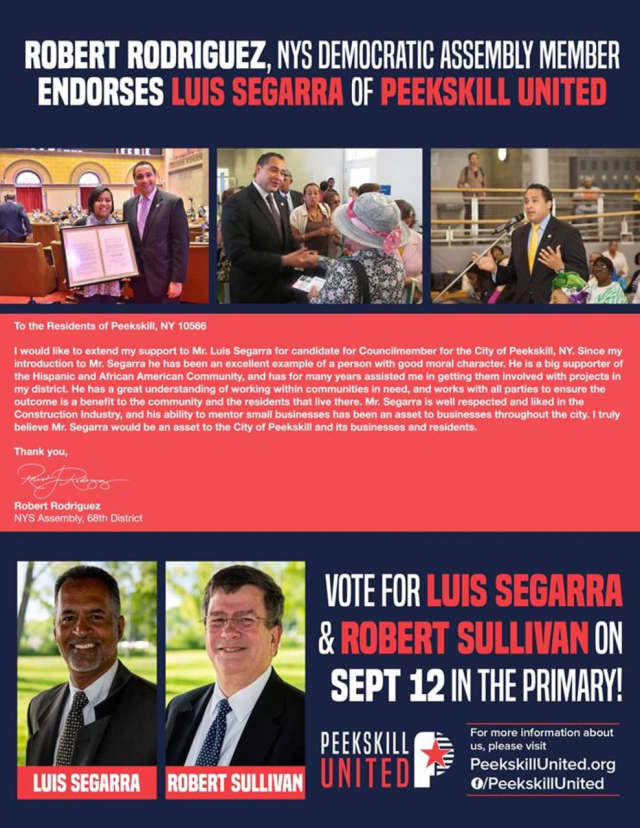 Assemblyman Robert Rodriguez is claiming he never endorsed Luis Segarra for Common Council