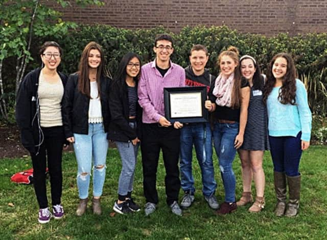 PVHS students won 20 awards at the recent GSSPA conference. These students include, from left, Jamie Ryu, Sarah Schmoyer, Curstine Guevarra, Jake Aferiat, Kyle Comito, Madison Gallo, Kayla Barry and Lauren Cohen.