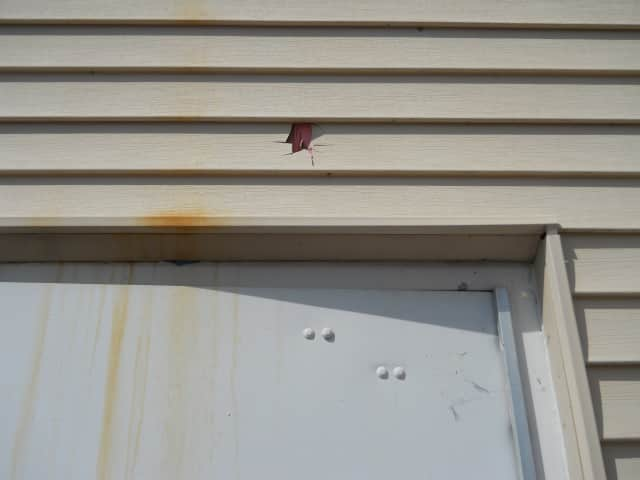 Siding at Pleasant Valley Town Hall was damaged.