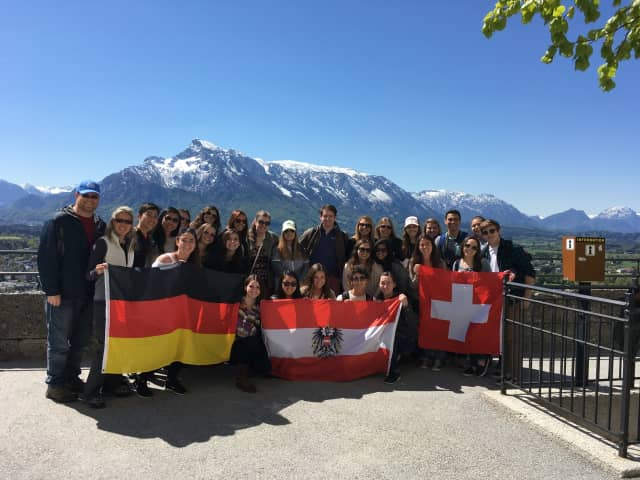 PVHS students poses atop the Fortress Hohensalzburg in Salzburg, Austria, one of their stops during a science-themed spring break trip to Switzerland, Austria and Germany.