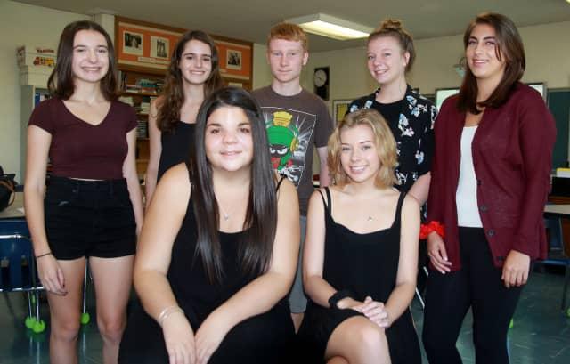 Westlake High School writers, sitting, from left: Nicole Grossman and Kiera Torpie. Standing, from left: Jessica Kaplan, Michelle Barbero, Brian Bennett, Julia O'Connell, Jenna Arkontaky