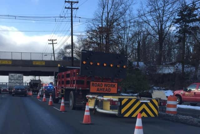 Roadwork shut down a lane of Route 4 in Paramus Monday.