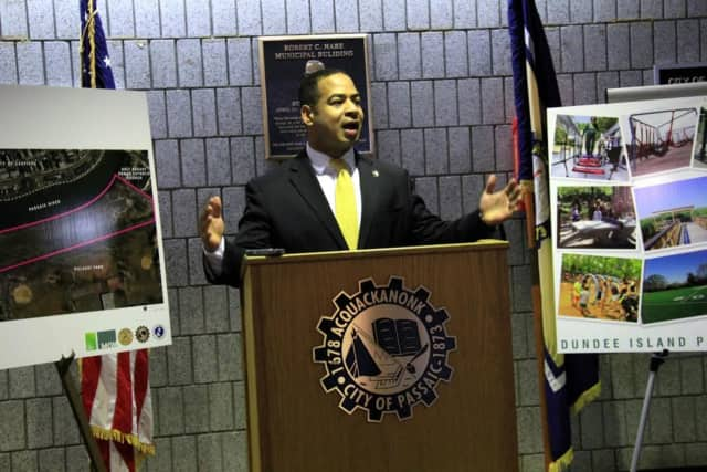 Passaic Mayor Hector Lora spoke at a press conference announcing the launch of Phase I of the Passaic Riverfront Park Project.