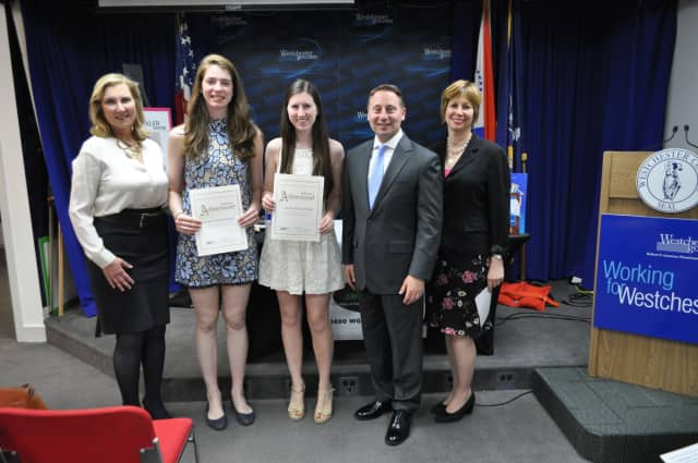 From left,Tierney Saccavino of Acorda Therapeutics; Sacred Heart students Grace Passannante of Rye and Kelly Heinzerling of Greenwich; Westchester County Executive Rob Astorino and Greenwich talk show host Lisa Wexler.