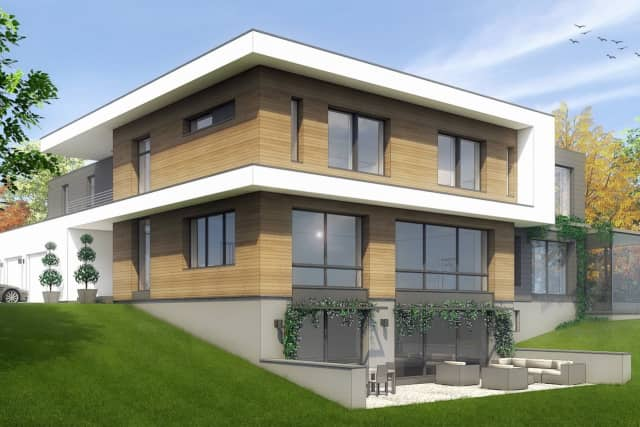 An artist's rendering of an energy-efficicent Passive House built on Campbell Drive in Stamford.