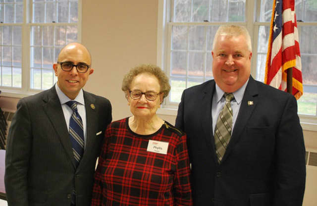 Reps. Perillo and McGorty with Phyllis Kupec, President of AARP are shown at the Shelton Senior Center where the lawmakers gave an update on how Connecticut's debt affects seniors.