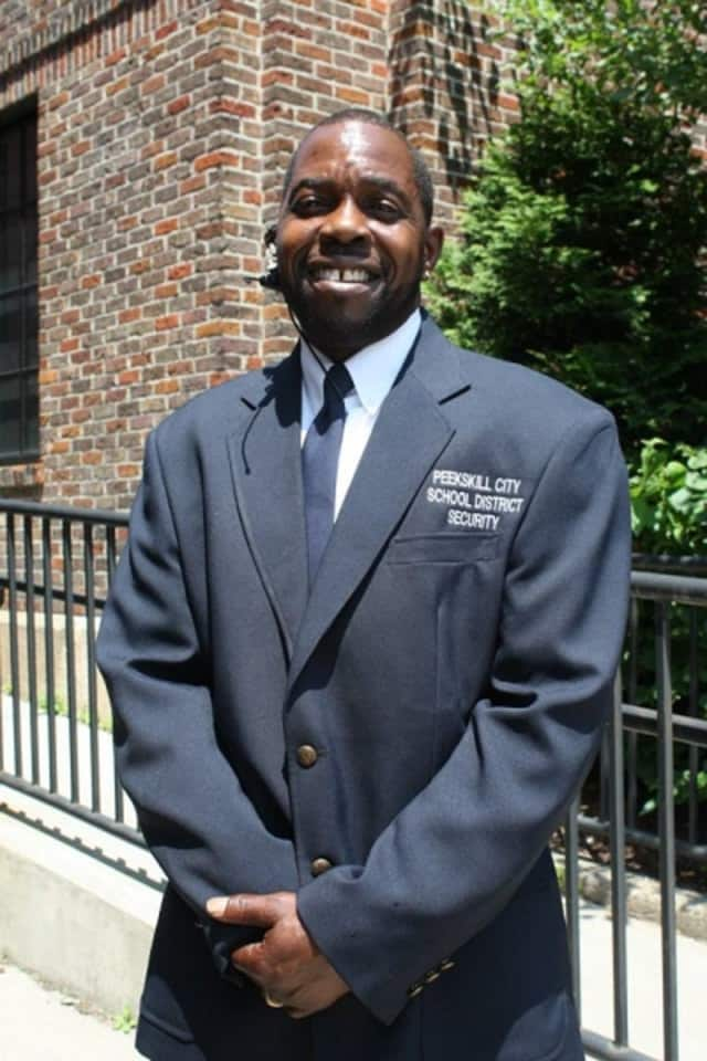 """Edward """"Pete"""" Peterson, a security aide at his alma mater, Peekskill High School, has been profiled in """"Westchester"""" magazine as being a beacon of wisdom and a cheerleader for community pride there."""