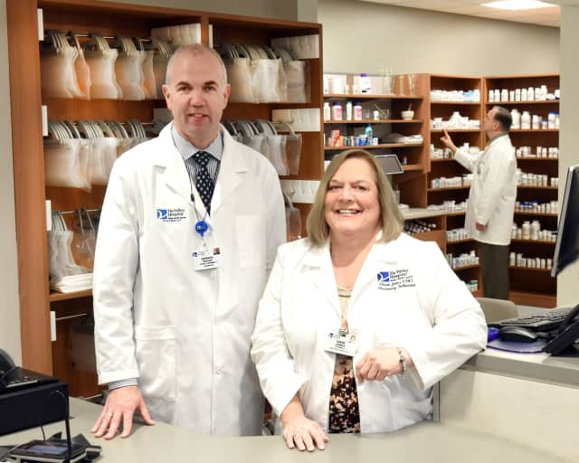 Pharmacist Gerard Tuohy and Pharmacy Technician Diane Jones at the new retail pharmacy at the Valley Center for Health and Wellness.