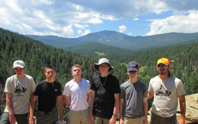 From left, Troop 2 Scouts Chris Siciliano, Evan Gruber, Aidan Connolly, Will Solie, Joe Tesler and Eddie Gruber at the Philmont Scout Ranch in New Mexico this past summer.