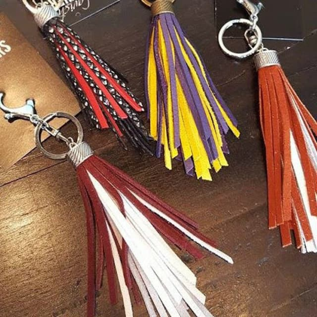 Tasseled leather keychain to add personality to a purse, backpack or key ring. Photographs courtesy Lavish Leathers.