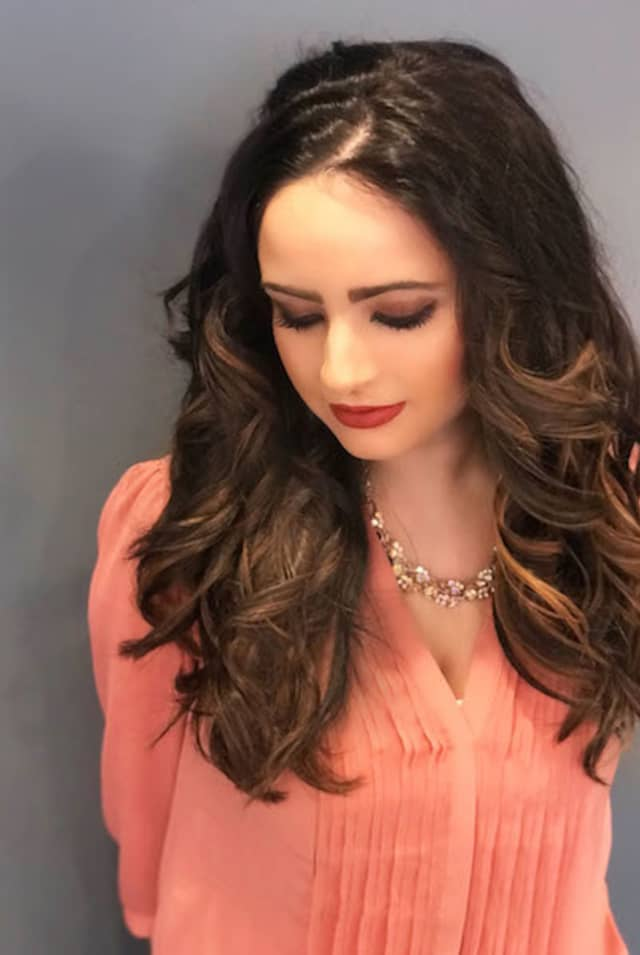 """Danielle Renda with the """"pillow talk"""" style. Photograph courtesy Blo Blow Dry Bar in Greenwich."""