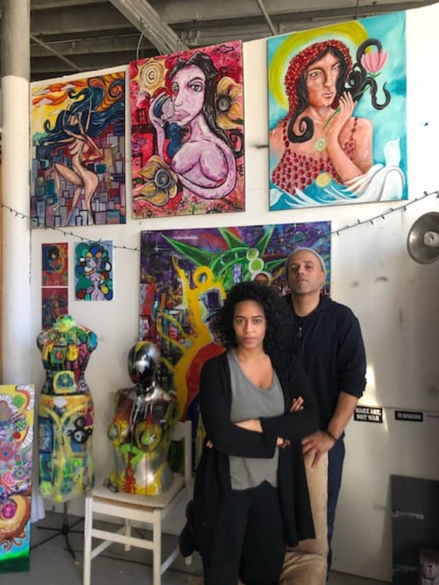 Patricia Santos and Jose A. Gonzalez share a studio in YOHO. They are involved in curatorial work around Yonkers, creating shows in a variety of venues with their collective, We Art 1. Photograph by Lee Romero.