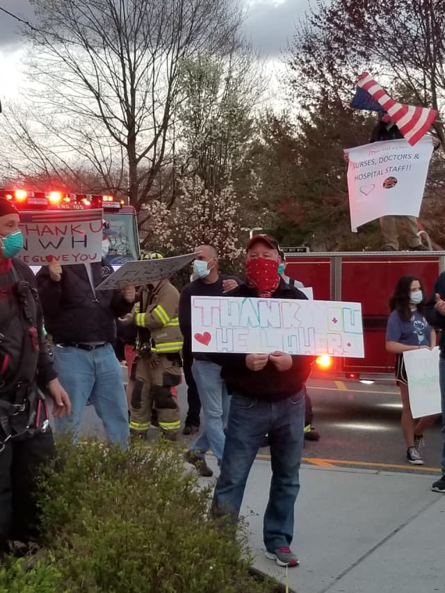 Police, fire, and government officials showed their support for the employees of  Northern Westchester Hospital during the COVID-19 pandemic.