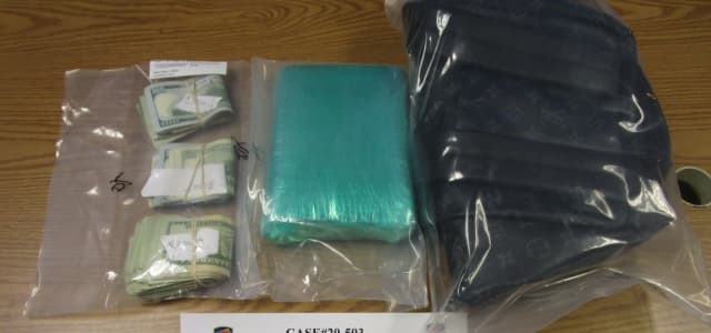 Some of the items seized following the chase and arrests.