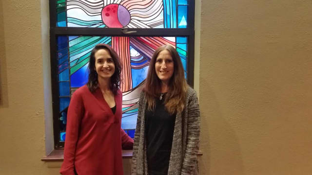 Cantor Melanie Cooperman, left, and Debbie Friedman, right of Community Synagogue of Rye.