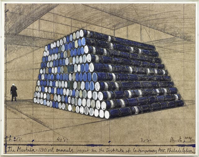 """Christo and Jeanne-Claude, """"The Mastaba, 1,240 Oil Barrels, Project for the Institute of Contemporary Art, Philadelphia"""" (1968-1998), lithograph and silkscreen in colors, sold for $1,250 (estimate, $500-$1,000)."""