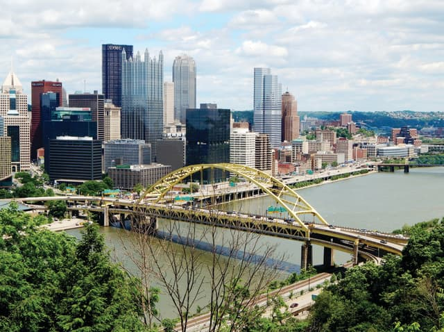 The Pittsburgh skyline from the North Shore at morning. Photograph by Tim Tierney.