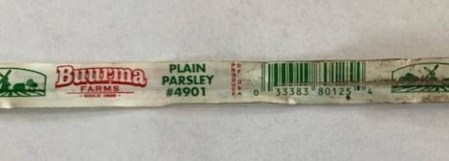 Recalled plain parsley product