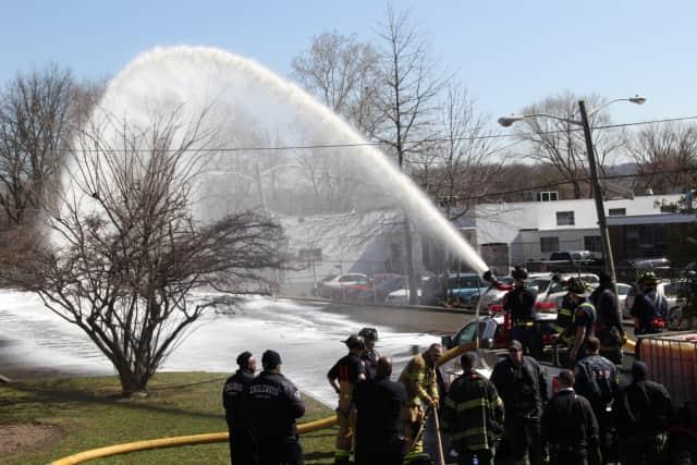 Teaneck Fire Department Platoon 2 conducting a foam drill.