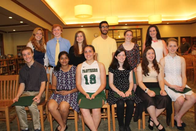 Pleasantville High School students who were inducted into the Rho Kappa National Social Studies Honor Society on April 18.