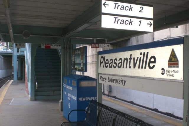 A car fell onto the tracks near the Pleasantville Metro-North station.