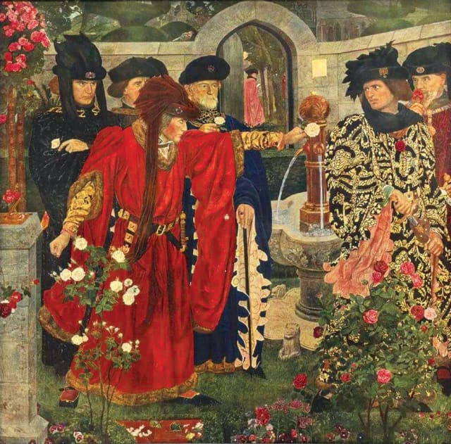 "A framed print of  ""Plucking the Red and White Roses in the Old Temple Gardens"" after a 1910 fresco painting by Henry Albert Payne, based upon a scene in William Shakespeare's ""Henry VI."""