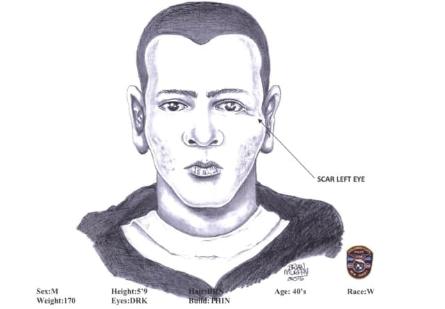Sketch of man who driver said impersonated a police officer in Teaneck by Englewood Cliffs Police Capt. Brian Murphy.