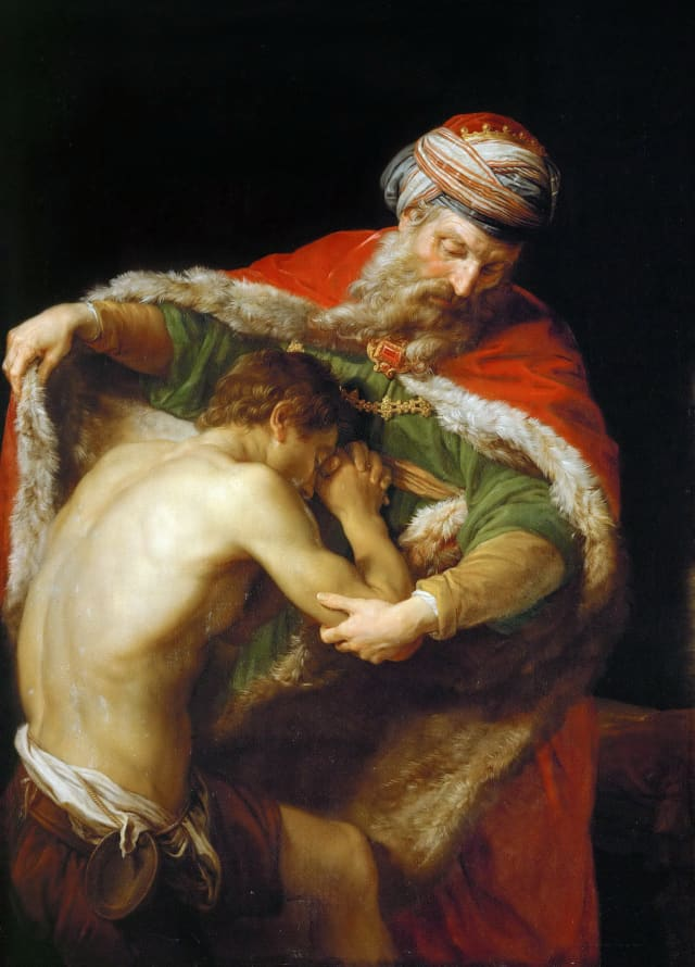 One of the most poignant father-son stories, the Prodigal Son, here interpreted by painter Pompeo Batoni. This 1773 oil is in the Kunsthistorisches Museum.