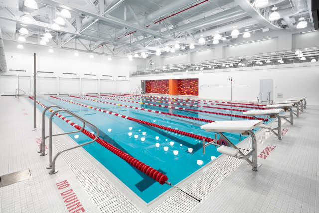 The pool is part of the Convent of the Sacred Heart athletic facility, for which OLA Consulting Engineers won an award.