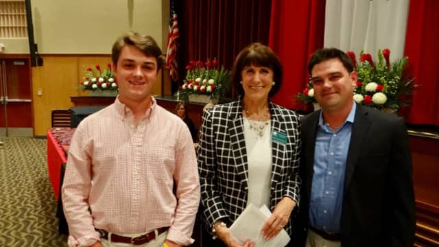 2017 Fairfield Warde graduate Gareth Gacetta, left, poses with Fairfield Chamber President Beverly Balaz and Ryan Santoro of Connect Computer, first vice chair of FELO.