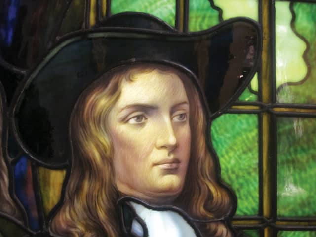 Frederick S. Lamb's portrait of early Quaker and Pennsylvania founder William Penn (1909), stained glass. Brooklyn Museum.