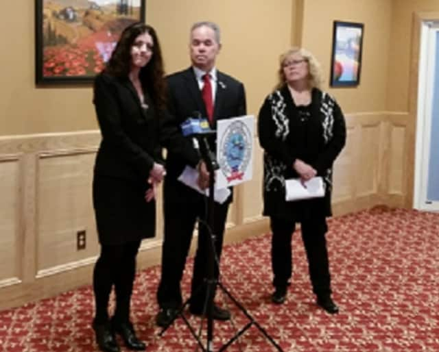 L. to r.: Catherine Johnson-Southren, RCI coordinator; Ed Day, Rockland county executive; and Dr. Patricia Schnabel Ruppert announce in Haverstraw Monday that the county's year-old health code crackdown on landlords has been a success.