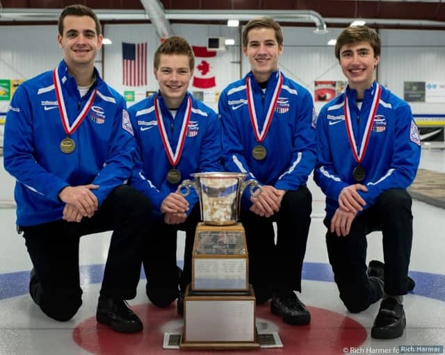Andrew Stopera, far left, and his curling team that won the national championship.