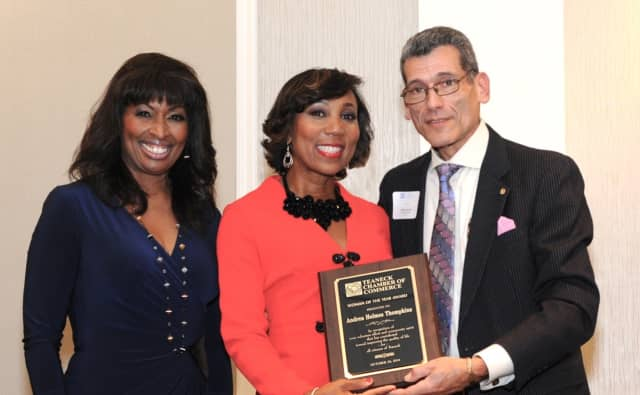 """Andrea Thompson receives her """"Woman of the Year"""" award at Teaneck Chamber of Commerce's 13th Annual Dinner last year."""