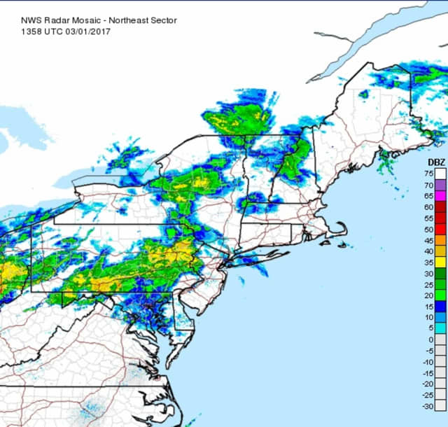 The National Weather Service is forecasting thunderstorms, then possibly snow on Friday.