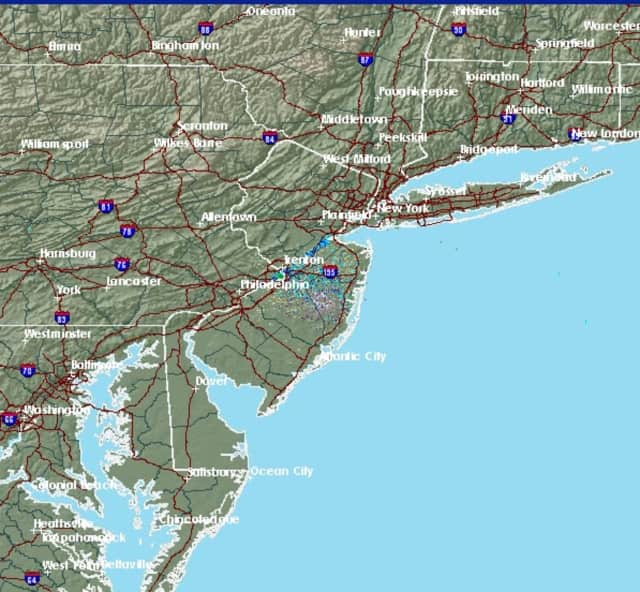 The National Weather Service's radar shows clear skies across Bergen and Passaic counties.