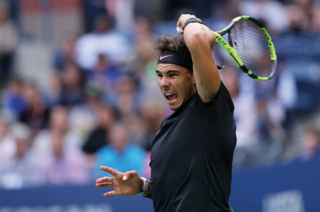 Rafael Nadal in action against Kevin Anderson in the men's singles final at the 2017 US Open. USTA/Darren Carroll.