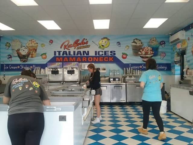 The interior of Ralph's Italian Ices and Ice Cream, a shop in Mamaroneck that draws crowds for its frozen treats and glares from neighbors irked by the traffic it generates.
