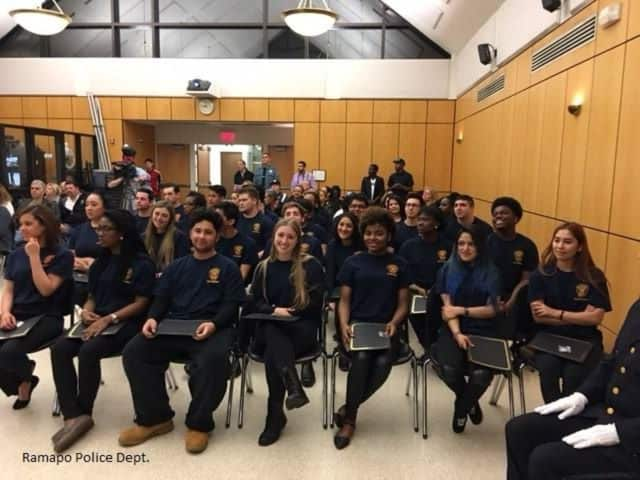 Graduates of Ramapo Police Department's Youth Academy at recent graduation ceremony.