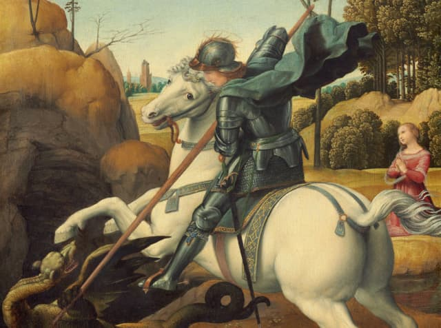 """My patron saint, George, slays a dragon and saves a distressed damsel in Raphael's """"St. George and the Dragon"""" (circa 1506), oil on panel. National Gallery of Art, Washington D.C."""