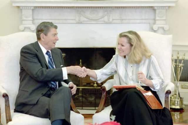 Peggy Noonan meets Former U.S. President Ronald Reagan.
