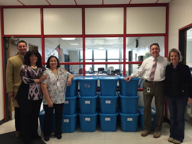 The Elmsford Rotary Club along with Regeneron Pharmaceuticals of Tarrytown donated baskets and tubs full of food for needy students in the Elmsford School District for Thanksgiving.