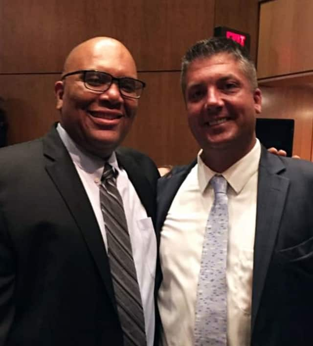 Reggie Richardson and John Barnes (left and right) were two of the 35 granted tenure last Tuesday. They are the principals of New Rochelle High School and Albert Leonard Middle School.