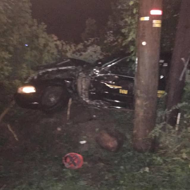A 58-year-old Airmont man was arrested early Friday after crashing his car into a utility pole on Route 45 near Washington Avenue in Ramapo.