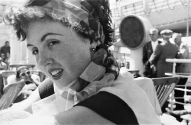 Author Renate Stoever on board the SS Neptunia, bound for the United States, July 1953.