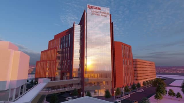 Artist's rendering of a planned 12-story, $750 million Cancer Pavilion project in New Brunswick.