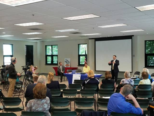 Joel Brizzi speaks at the Bergen County Access For All Committee meeting.