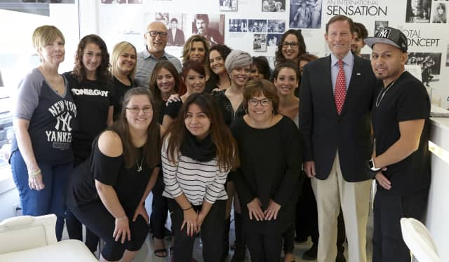 """U.S. Sen. Richard Blumenthal visited Ricci's Salon & Spa in Newtown at its cut-a-thon benefit May 15 for its """"Homes For Our Troops"""" event."""