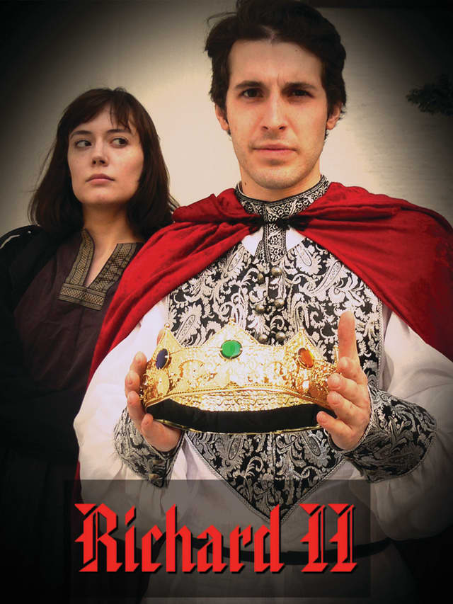 """Rhiannon Lattimer (left) and Ryan Molloy star in the Hudson Shakespeare's """"Richard II"""" in performance at the Stratford Library on June 25."""