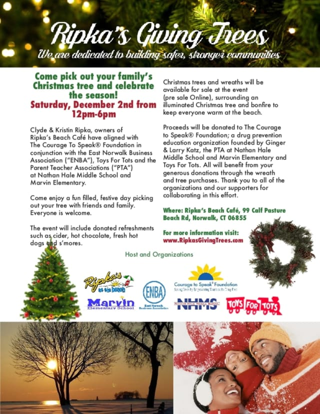 Ripka's Giving Tree will be held at Calf Pasture Beach in Norwalk on Dec. 2